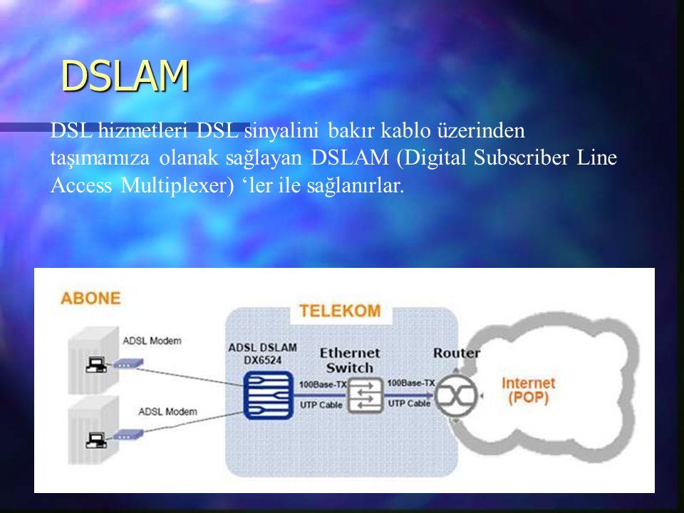 DSLAM DSL hizmetleri DSL sinyalini bakır kablo üzerinden taşımamıza olanak sağlayan DSLAM (Digital Subscriber Line Access Multiplexer) 'ler ile sağlanırlar.