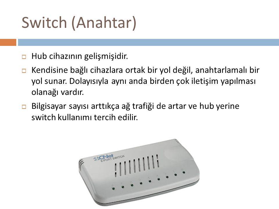 Switch (Anahtar)  Hub cihazının gelişmişidir.  Kendisine bağlı cihazlara ortak bir yol değil, anahtarlamalı bir yol sunar. Dolayısıyla aynı anda bir