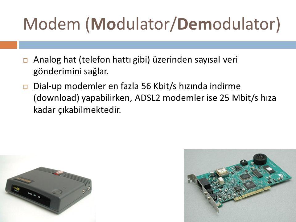 Modem (Modulator/Demodulator)  Analog hat (telefon hattı gibi) üzerinden sayısal veri gönderimini sağlar.  Dial-up modemler en fazla 56 Kbit/s hızın