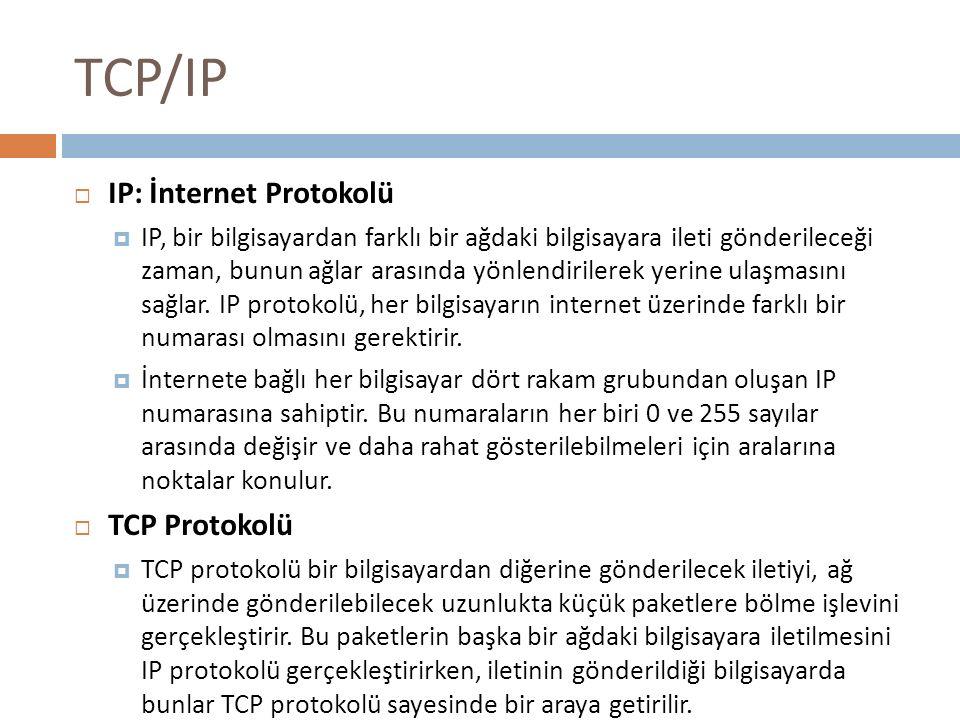 TCP/IP  IP: İnternet Protokolü  IP, bir bilgisayardan farklı bir ağdaki bilgisayara ileti gönderileceği zaman, bunun ağlar arasında yönlendirilerek