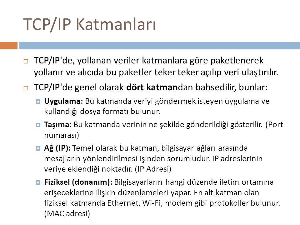 TCP/IP Katmanları  TCP/IP'de, yollanan veriler katmanlara göre paketlenerek yollanır ve alıcıda bu paketler teker teker açılıp veri ulaştırılır.  TC