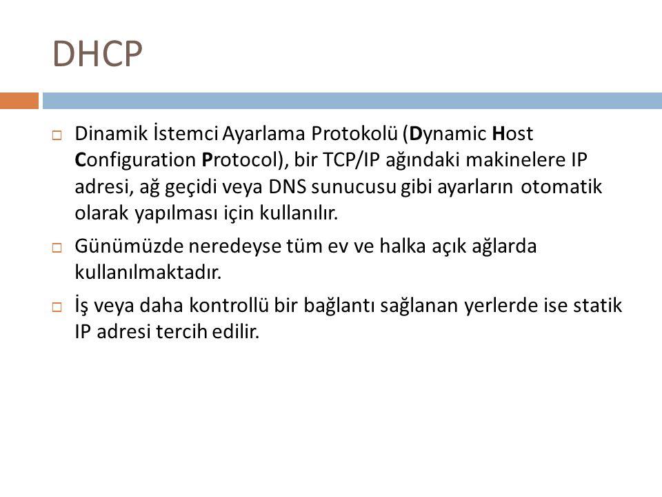 DHCP  Dinamik İstemci Ayarlama Protokolü (Dynamic Host Configuration Protocol), bir TCP/IP ağındaki makinelere IP adresi, ağ geçidi veya DNS sunucusu