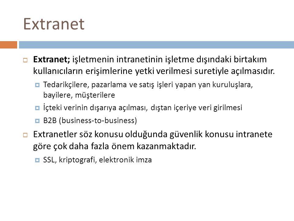 Extranet  Extranet; işletmenin intranetinin işletme dışındaki birtakım kullanıcıların erişimlerine yetki verilmesi suretiyle açılmasıdır.  Tedarikçi
