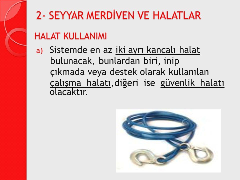 a) Sistemde en az iki ayrı kancalı halat bulunacak, bunlardan biri, inip çıkmada veya destek olarak kullanılan çalışma halatı,diğeri ise güvenlik hala