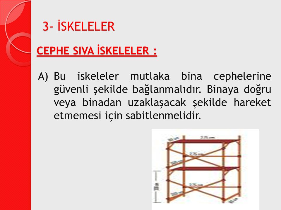 CEPHE SIVA İSKELELER : A)Bu iskeleler mutlaka bina cephelerine güvenli şekilde bağlanmalıdır. Binaya doğru veya binadan uzaklaşacak şekilde hareket et