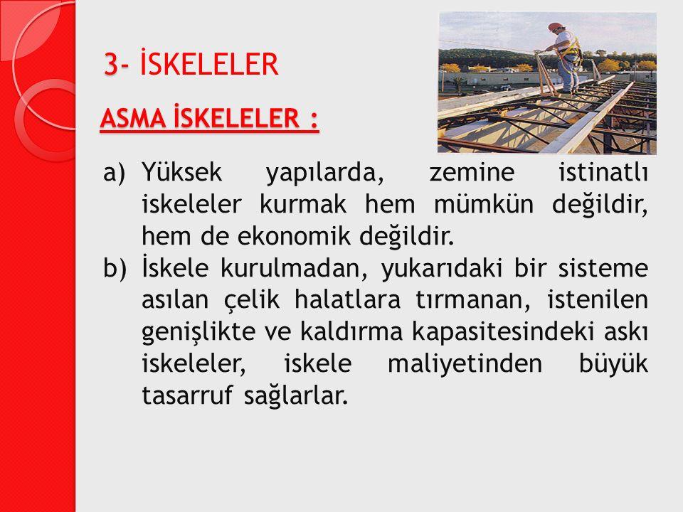 ASMA İSKELELER : a)Yüksek yapılarda, zemine istinatlı iskeleler kurmak hem mümkün değildir, hem de ekonomik değildir. b)İskele kurulmadan, yukarıdaki