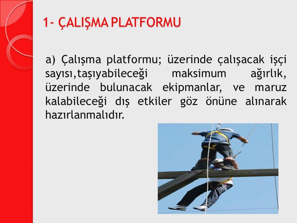 1- ÇALIŞMA PLATFORMU a) Çalışma platformu; üzerinde çalışacak işçi sayısı,taşıyabileceği maksimum ağırlık, üzerinde bulunacak ekipmanlar, ve maruz kal