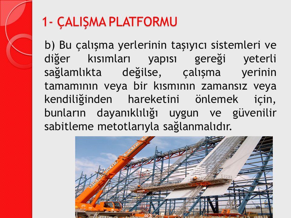 b) Bu çalışma yerlerinin taşıyıcı sistemleri ve diğer kısımları yapısı gereği yeterli sağlamlıkta değilse, çalışma yerinin tamamının veya bir kısmının