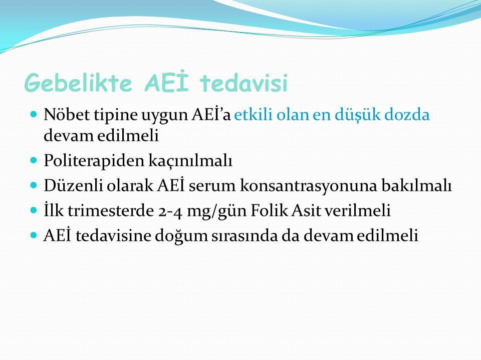 Gebelikte AEİ tedavisi Nöbet tipine uygun AEİ'a etkili olan en düşük dozda devam edilmeli Politerapiden kaçınılmalı Düzenli olarak AEİ serum konsantrasyonuna bakılmalı İlk trimesterde 2-4 mg/gün Folik Asit verilmeli AEİ tedavisine doğum sırasında da devam edilmeli