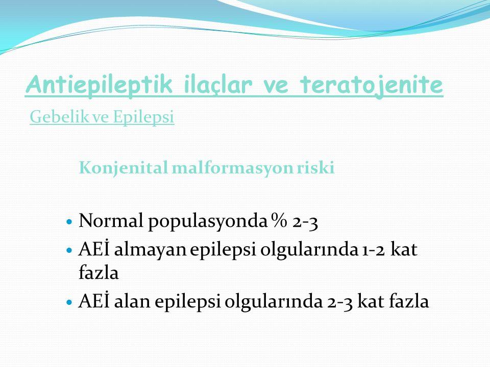 Antiepileptik ila ç lar ve teratojenite Gebelik ve Epilepsi Konjenital malformasyon riski Normal populasyonda % 2-3 AEİ almayan epilepsi olgularında 1-2 kat fazla AEİ alan epilepsi olgularında 2-3 kat fazla