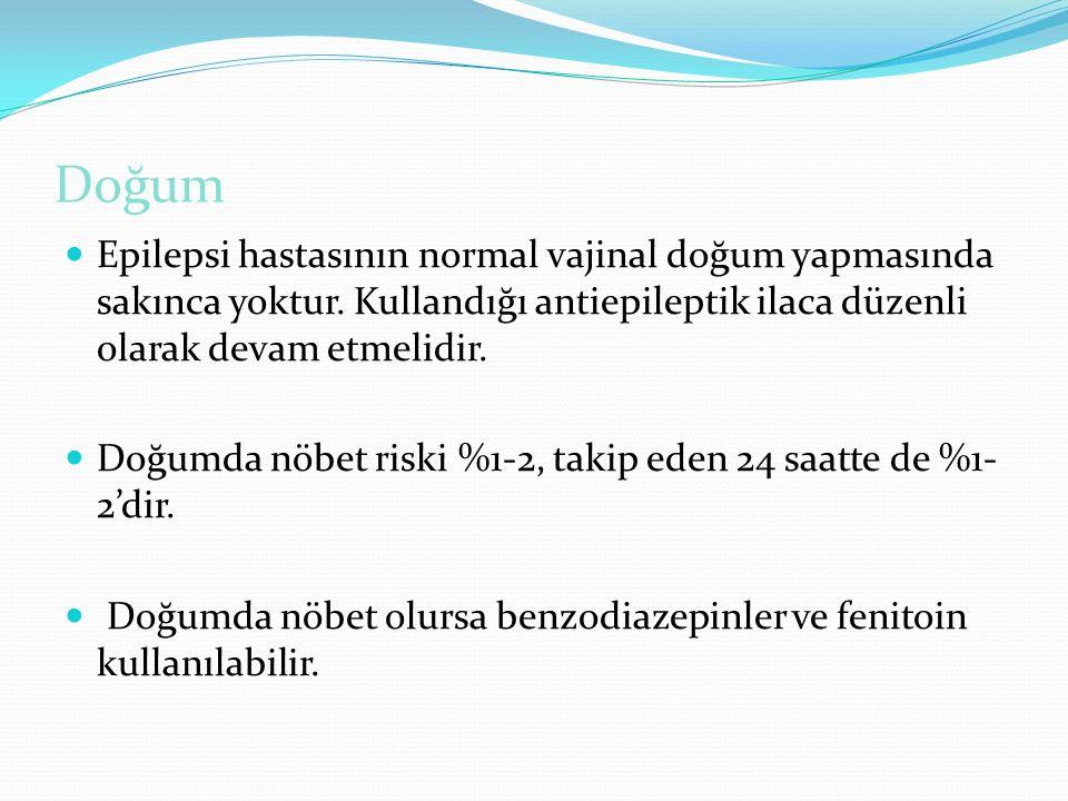 Doğum Epilepsi hastasının normal vajinal doğum yapmasında sakınca yoktur. Kullandığı antiepileptik ilaca düzenli olarak devam etmelidir. Doğumda nöbet