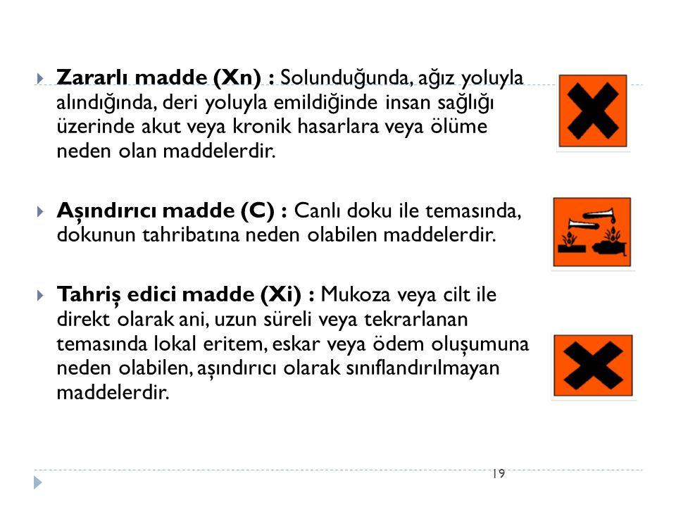 19  Zararlı madde (Xn) : Solundu ğ unda, a ğ ız yoluyla alındı ğ ında, deri yoluyla emildi ğ inde insan sa ğ lı ğ ı üzerinde akut veya kronik hasarla
