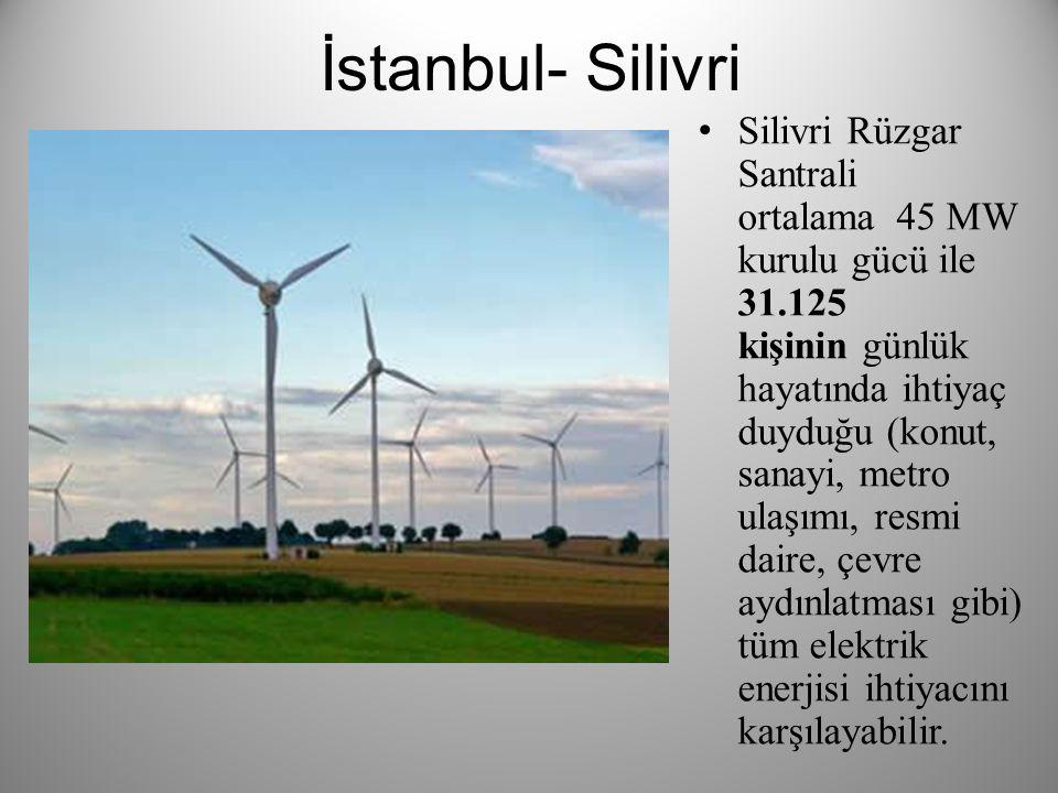 İstanbul- Silivri Silivri Rüzgar Santrali ortalama 45 MW kurulu gücü ile 31.125 kişinin günlük hayatında ihtiyaç duyduğu (konut, sanayi, metro ulaşımı, resmi daire, çevre aydınlatması gibi) tüm elektrik enerjisi ihtiyacını karşılayabilir.