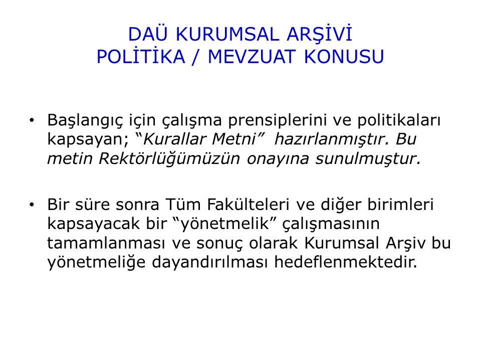 DAÜ KURUMSAL ARŞİVİ POLİTİKA / MEVZUAT KONUSU Başlangıç için çalışma prensiplerini ve politikaları kapsayan; Kurallar Metni hazırlanmıştır.