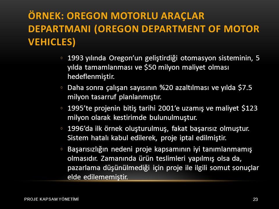 ÖRNEK: OREGON MOTORLU ARAÇLAR DEPARTMANI (OREGON DEPARTMENT OF MOTOR VEHICLES) 23 ◦ 1993 yılında Oregon'un geliştirdiği otomasyon sisteminin, 5 yılda tamamlanması ve $50 milyon maliyet olması hedeflenmiştir.