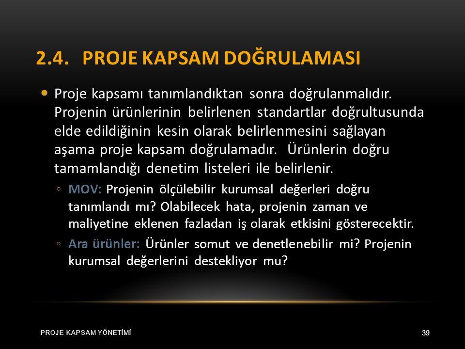 2.4.PROJE KAPSAM DOĞRULAMASI 39 Proje kapsamı tanımlandıktan sonra doğrulanmalıdır.