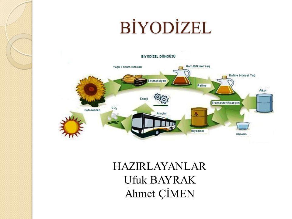 BİYODİZEL HAZIRLAYANLAR Ufuk BAYRAK Ahmet ÇİMEN