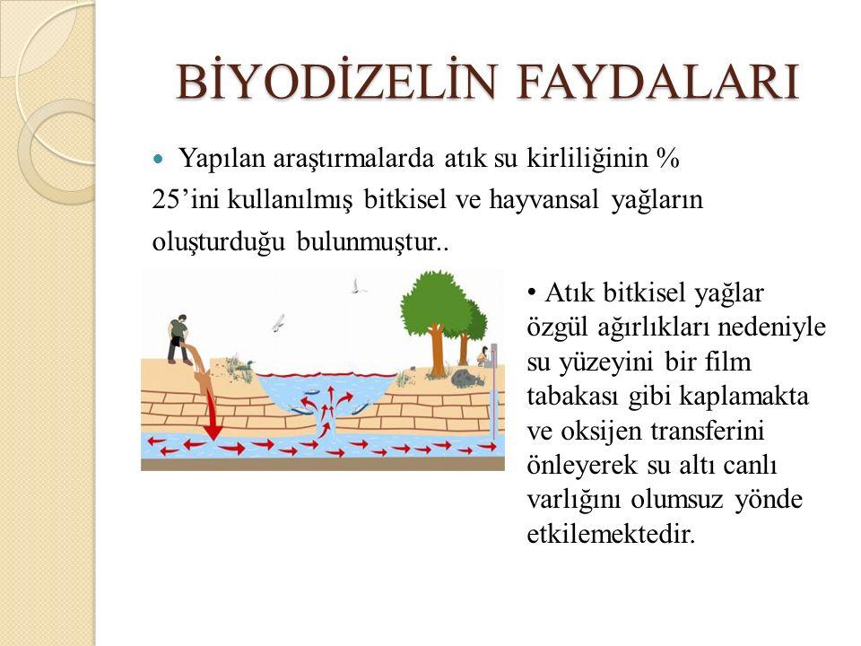 BİYODİZELİN FAYDALARI Yapılan araştırmalarda atık su kirliliğinin % 25'ini kullanılmış bitkisel ve hayvansal yağların oluşturduğu bulunmuştur.. Atık b