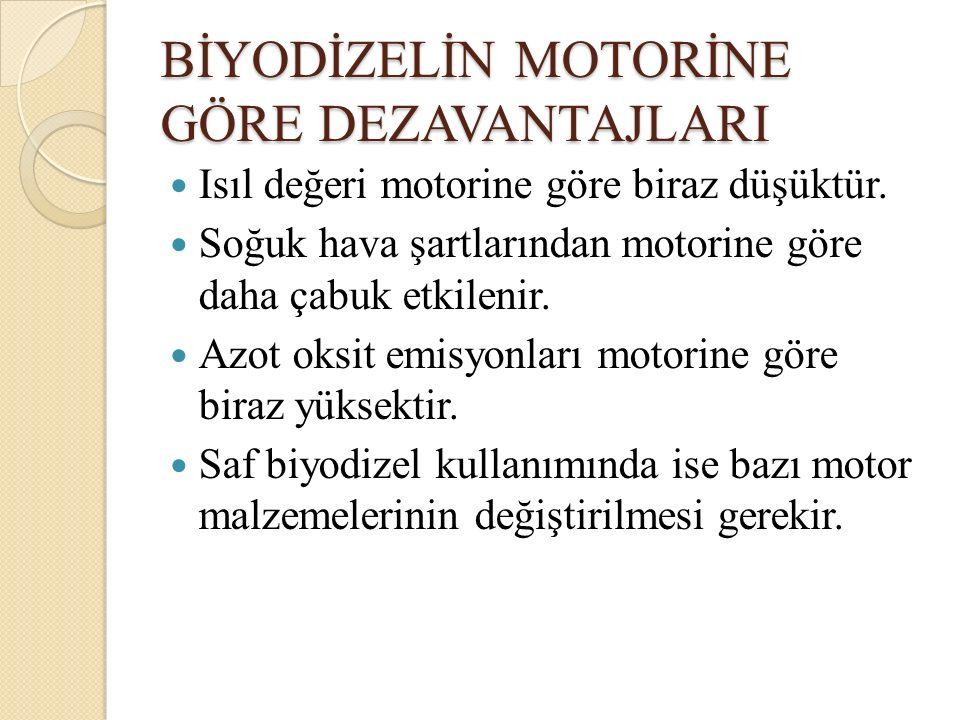 BİYODİZELİN MOTORİNE GÖRE DEZAVANTAJLARI Isıl değeri motorine göre biraz düşüktür. Soğuk hava şartlarından motorine göre daha çabuk etkilenir. Azot ok