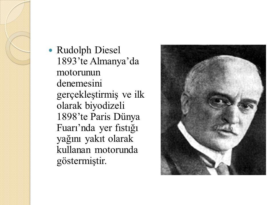 Rudolph Diesel 1893'te Almanya'da motorunun denemesini gerçekleştirmiş ve ilk olarak biyodizeli 1898'te Paris Dünya Fuarı'nda yer fıstığı yağını yakıt
