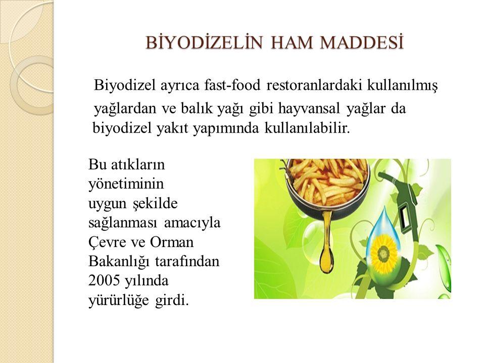 BİYODİZELİN HAM MADDESİ Biyodizel ayrıca fast-food restoranlardaki kullanılmış yağlardan ve balık yağı gibi hayvansal yağlar da biyodizel yakıt yapımı