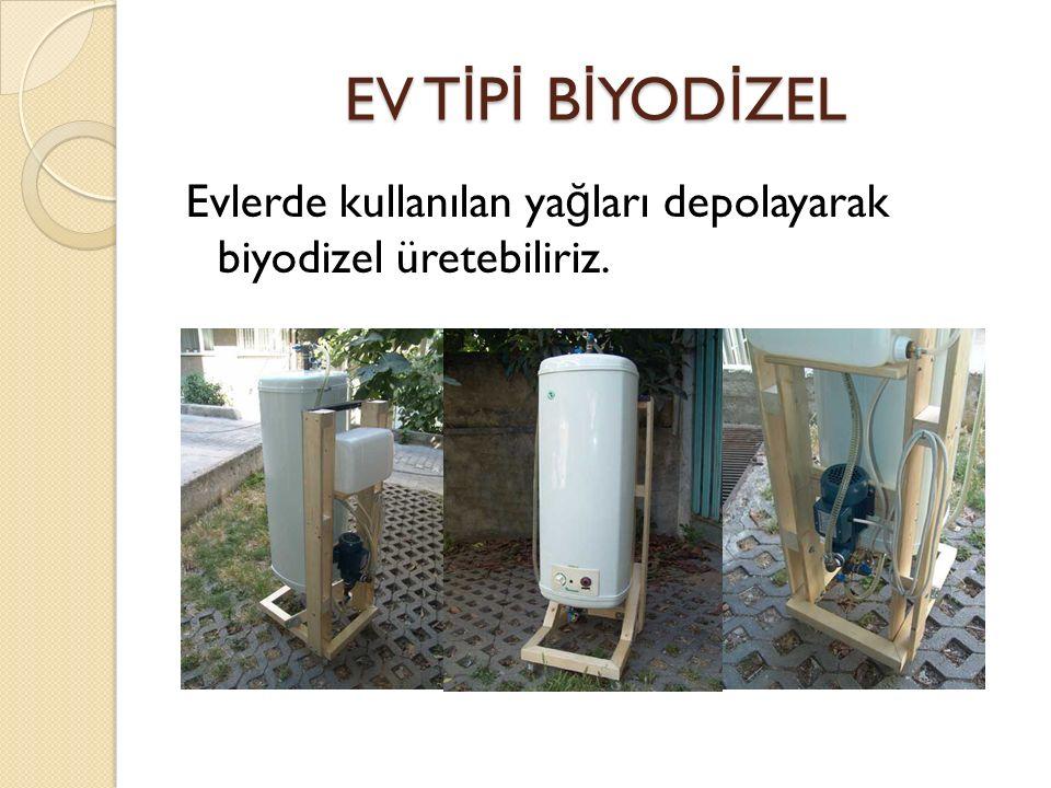 EV T İ P İ B İ YOD İ ZEL Evlerde kullanılan ya ğ ları depolayarak biyodizel üretebiliriz.