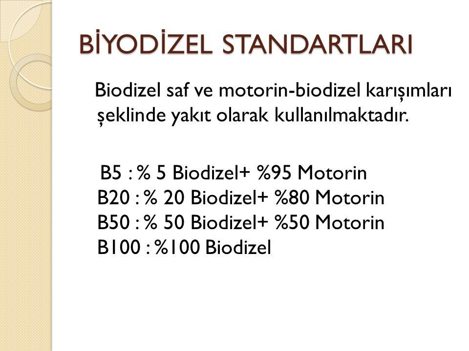B İ YOD İ ZEL STANDARTLARI Biodizel saf ve motorin-biodizel karışımları şeklinde yakıt olarak kullanılmaktadır. B5 : % 5 Biodizel+ %95 Motorin B20 : %