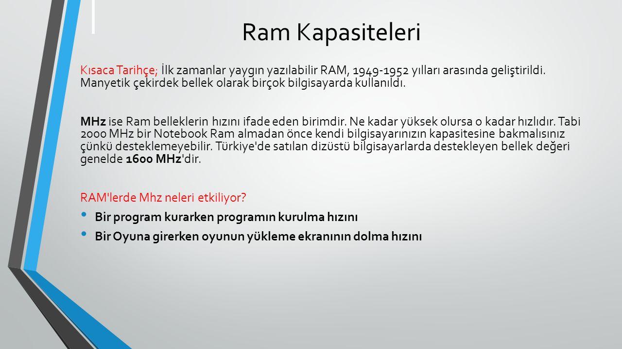 Ram Kapasiteleri Kısaca Tarihçe; İlk zamanlar yaygın yazılabilir RAM, 1949-1952 yılları arasında geliştirildi.