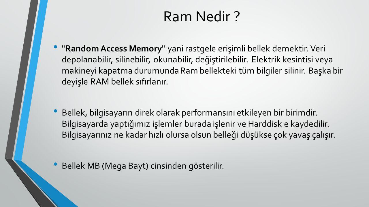 Ram Nedir . Random Access Memory yani rastgele erişimli bellek demektir.