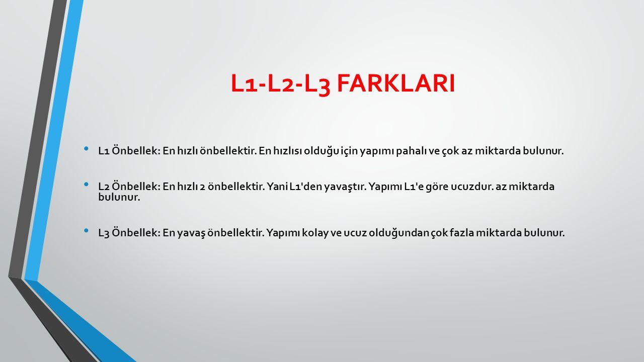 L1-L2-L3 FARKLARI L1 Önbellek: En hızlı önbellektir.