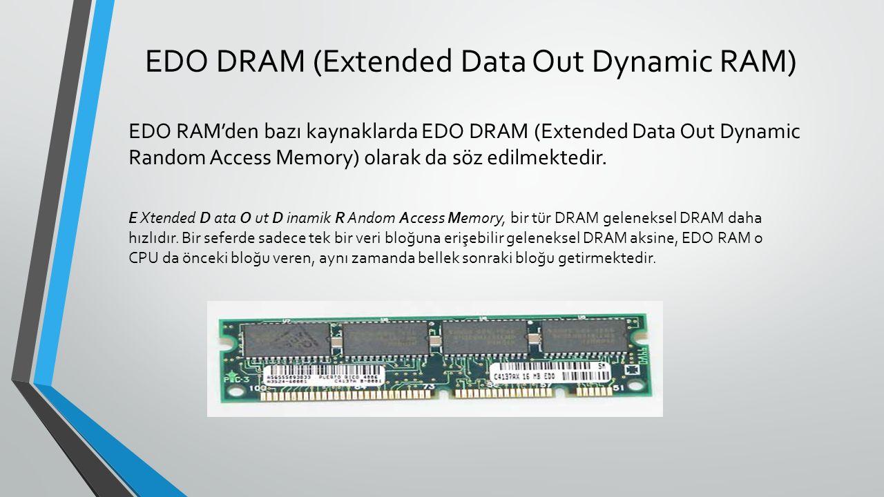 EDO DRAM (Extended Data Out Dynamic RAM) EDO RAM'den bazı kaynaklarda EDO DRAM (Extended Data Out Dynamic Random Access Memory) olarak da söz edilmektedir.