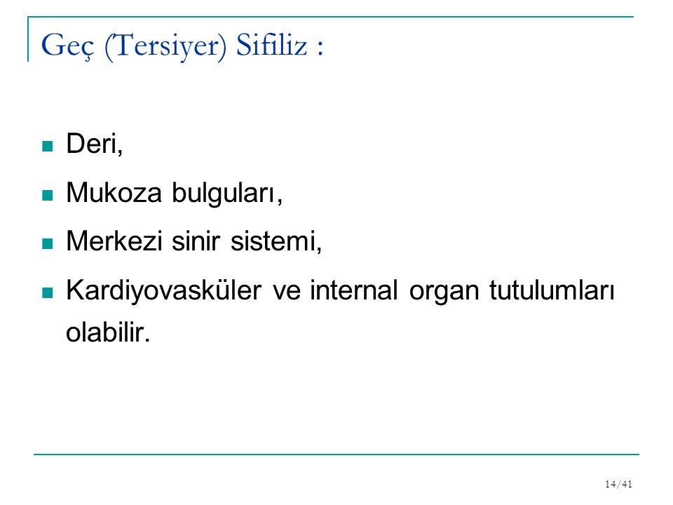 Geç (Tersiyer) Sifiliz : Deri, Mukoza bulguları, Merkezi sinir sistemi, Kardiyovasküler ve internal organ tutulumları olabilir.
