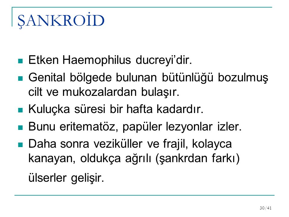 ŞANKROİD Etken Haemophilus ducreyi'dir.