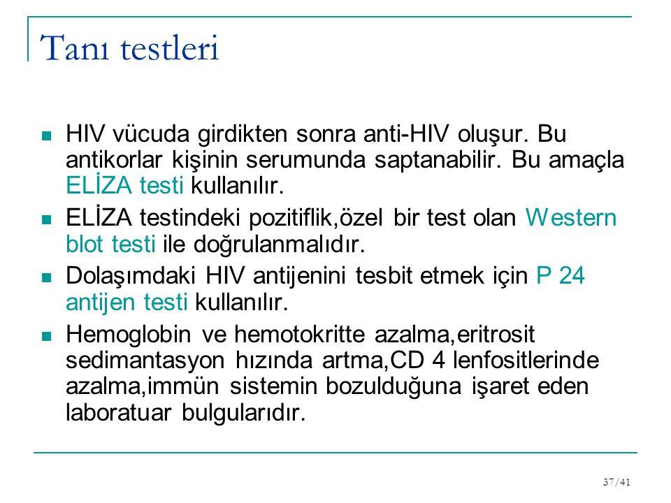 Tanı testleri HIV vücuda girdikten sonra anti-HIV oluşur.