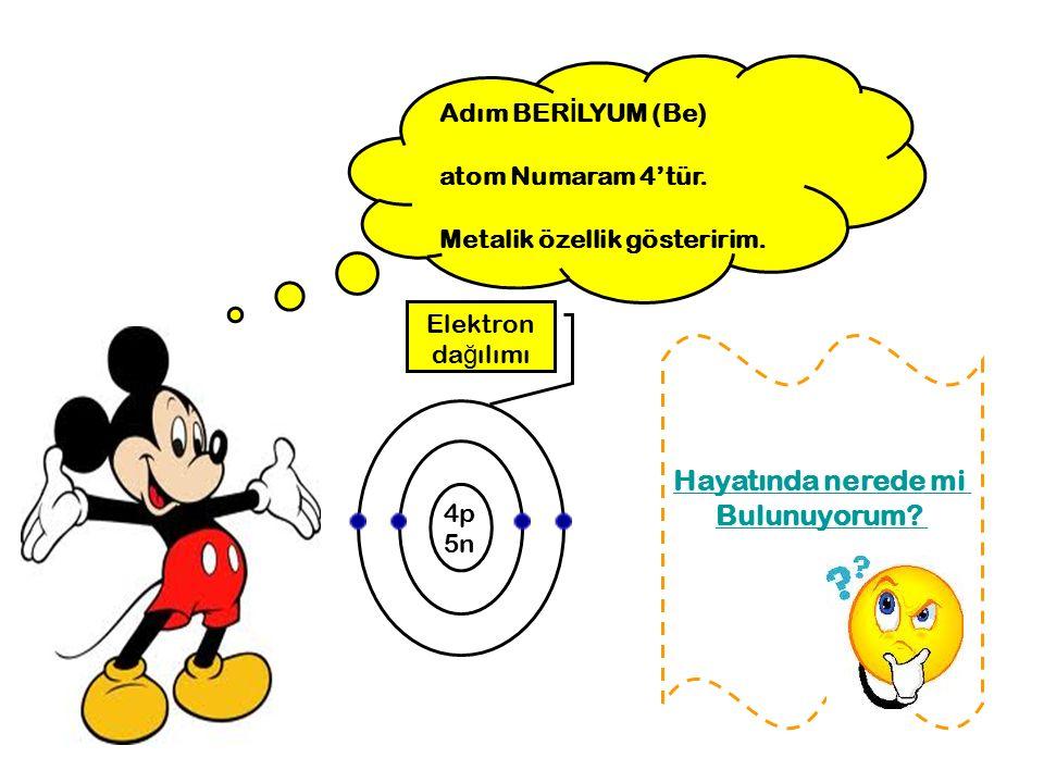 Adım BER İ LYUM (Be) atom Numaram 4'tür. Metalik özellik gösteririm. 4p 5n Elektron da ğ ılımı Hayatında nerede mi Bulunuyorum?
