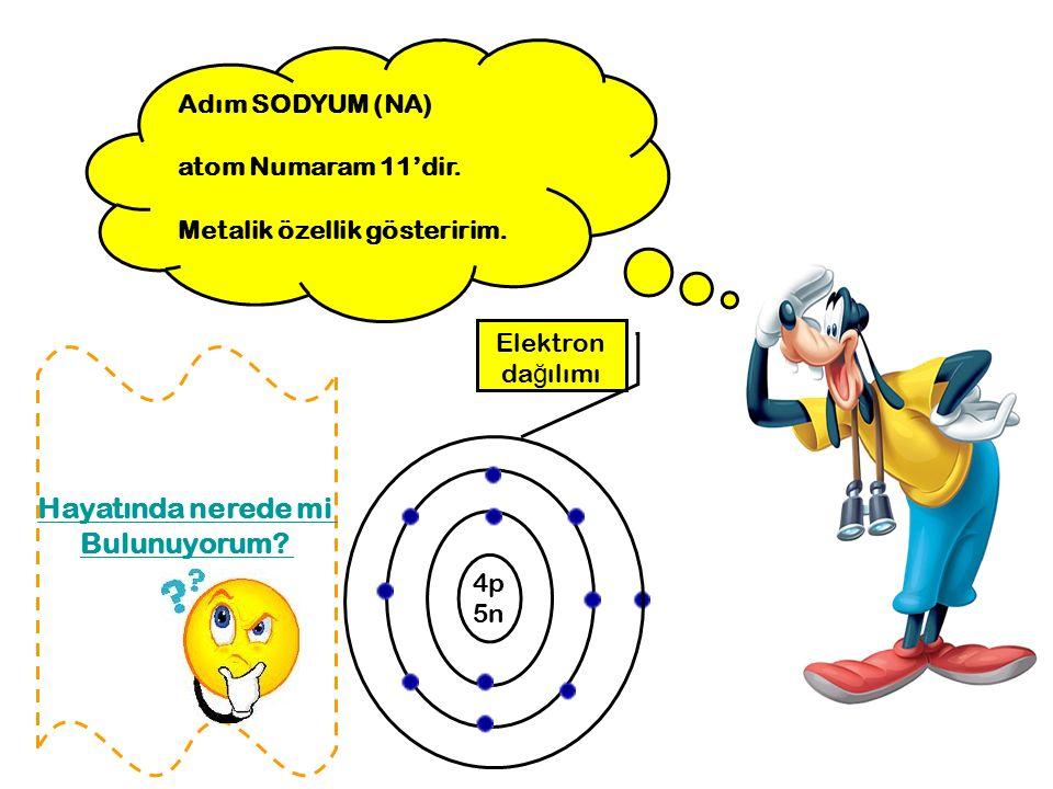 Adım SODYUM (NA) atom Numaram 11'dir. Metalik özellik gösteririm. Elektron da ğ ılımı 4p 5n Hayatında nerede mi Bulunuyorum?