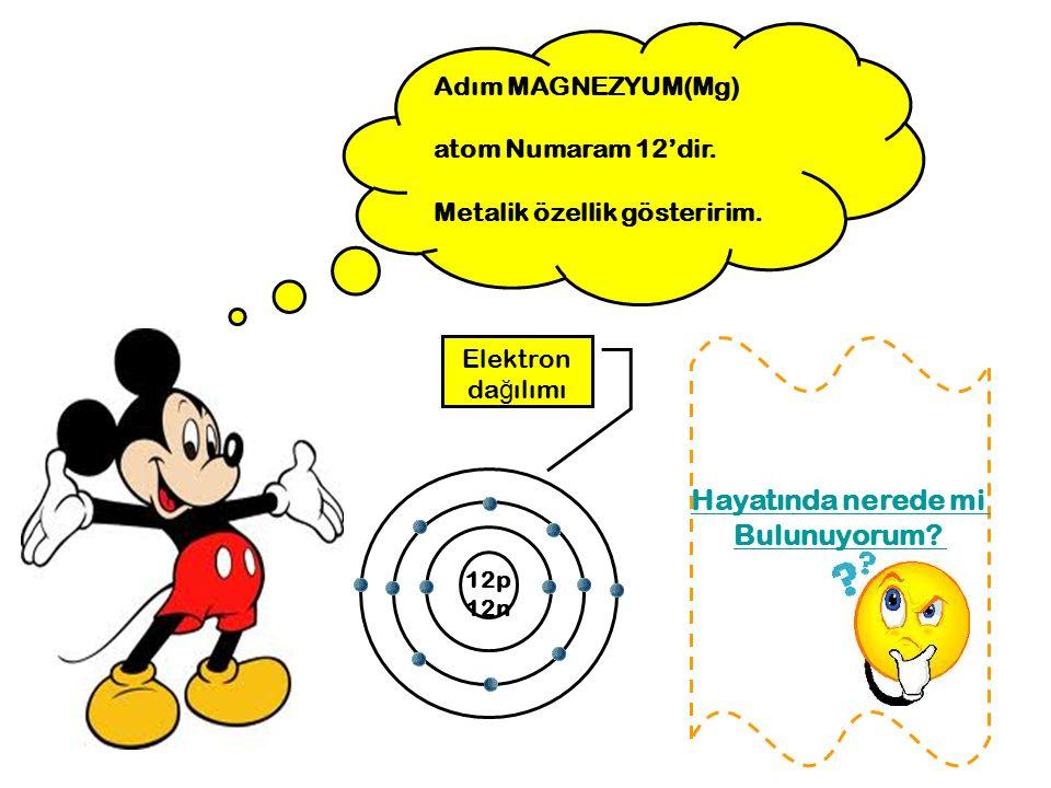 Adım MAGNEZYUM(Mg) atom Numaram 12'dir. Metalik özellik gösteririm. 12p 12n Elektron da ğ ılımı Hayatında nerede mi Bulunuyorum?