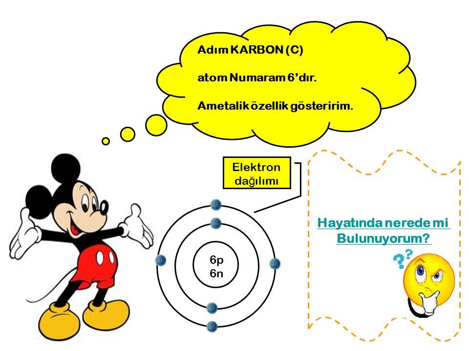 Adım KARBON (C) atom Numaram 6'dır. Ametalik özellik gösteririm. 6p 6n Elektron da ğ ılımı Hayatında nerede mi Bulunuyorum?