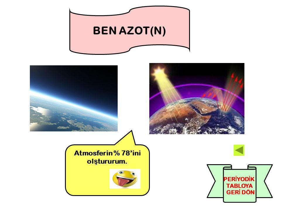BEN AZOT(N) Atmosferin % 78'ini ol ş tururum. PER İ YOD İ K TABLOYA GER İ DÖN