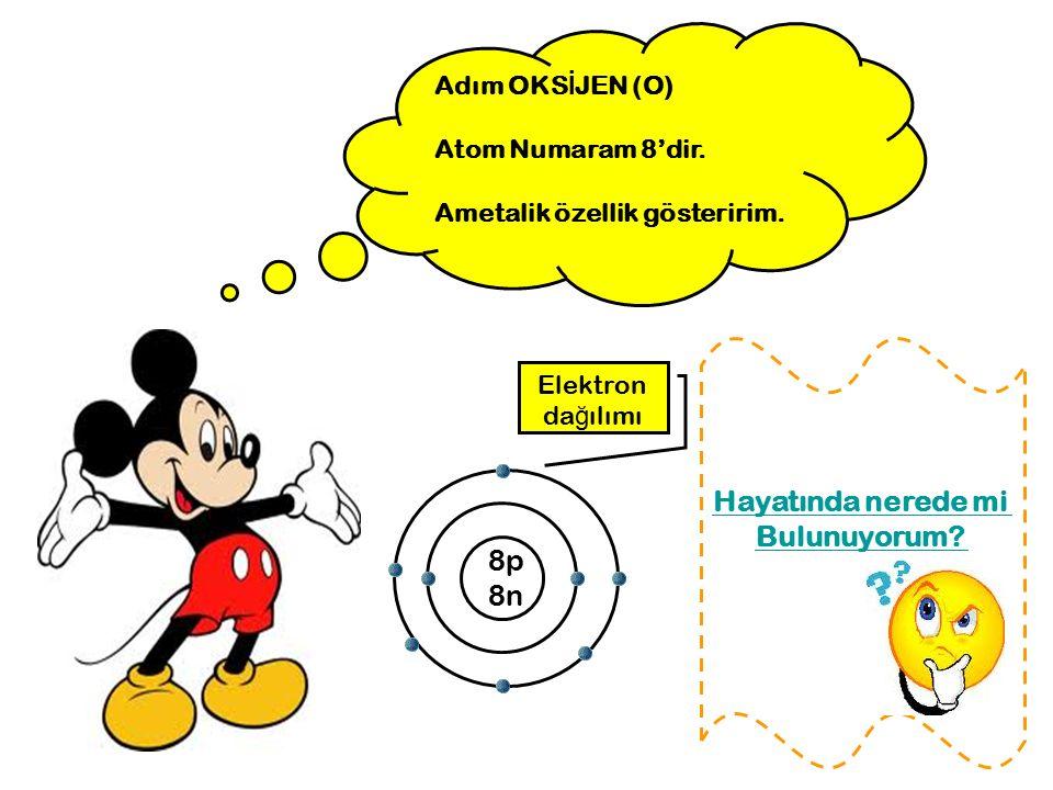 Adım OKS İ JEN (O) Atom Numaram 8'dir. Ametalik özellik gösteririm. 8p 8n Elektron da ğ ılımı Hayatında nerede mi Bulunuyorum?