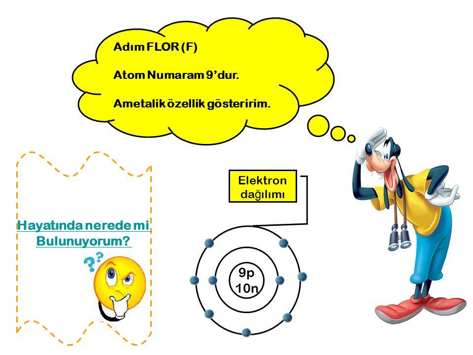 Adım FLOR (F) Atom Numaram 9'dur. Ametalik özellik gösteririm. 9p 10n Elektron da ğ ılımı Hayatında nerede mi Bulunuyorum?