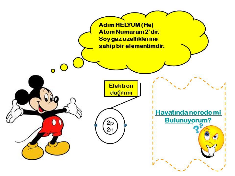 Adım HELYUM (He) Atom Numaram 2'dir. Soy gaz özelliklerine sahip bir elementimdir. Hayatında nerede mi Bulunuyorum? 2p 2n Elektron da ğ ılımı