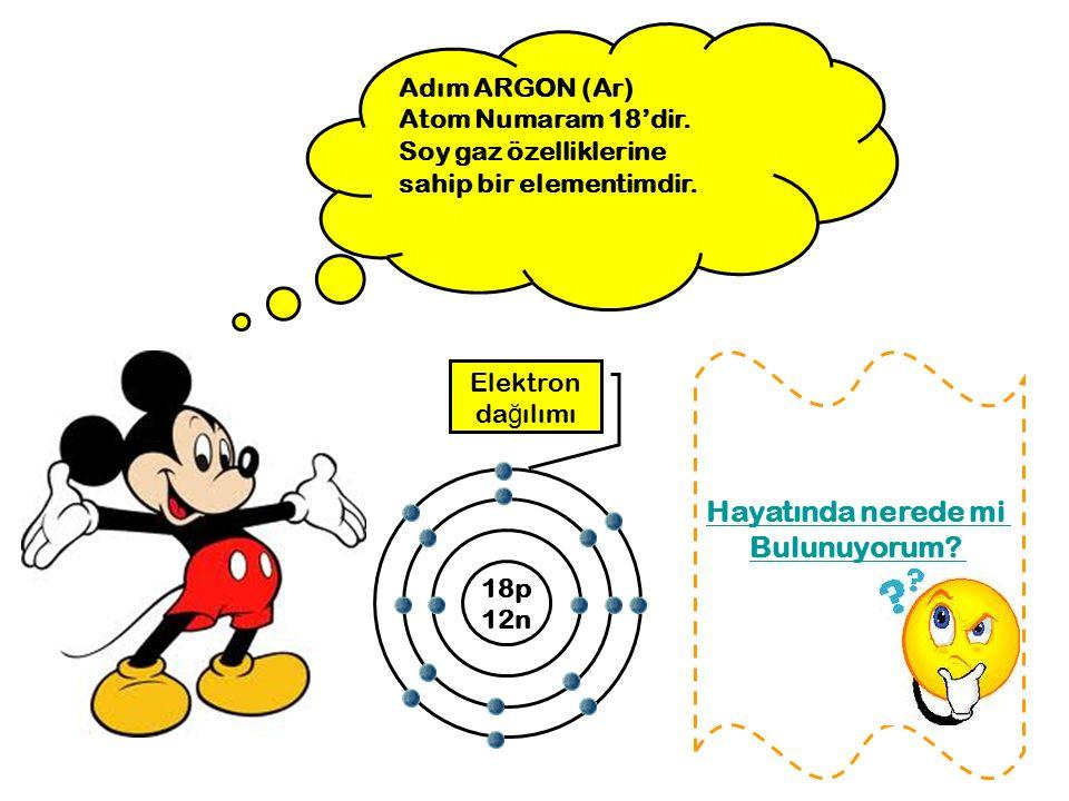 Adım ARGON (Ar) Atom Numaram 18'dir. Soy gaz özelliklerine sahip bir elementimdir. 18p 12n Elektron da ğ ılımı Hayatında nerede mi Bulunuyorum?