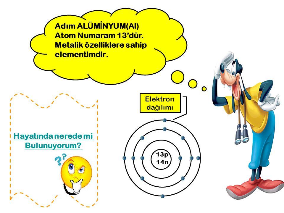 Adım ALÜM İ NYUM(Al) Atom Numaram 13'dür. Metalik özelliklere sahip elementimdir. 13p 14n Elektron da ğ ılımı Hayatında nerede mi Bulunuyorum?