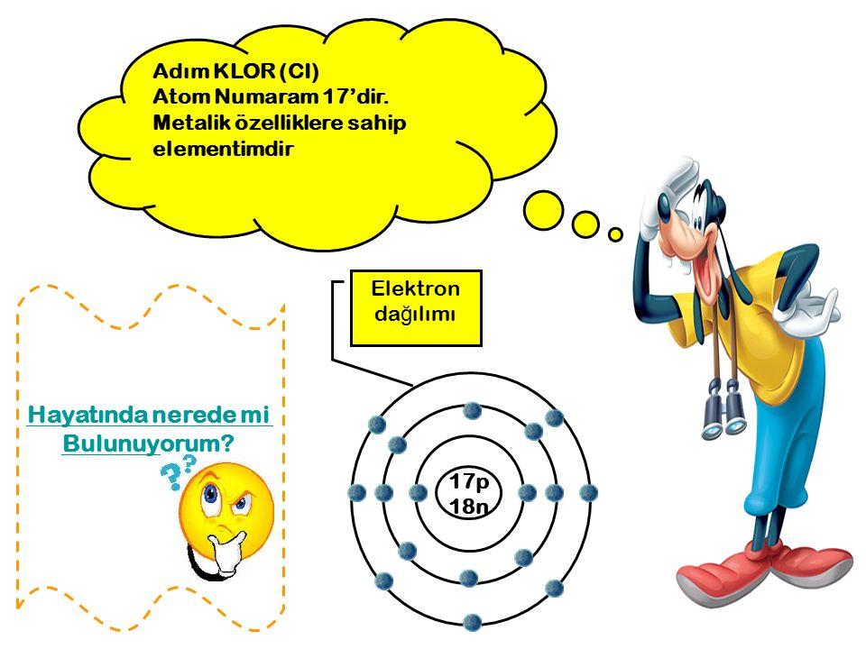 Adım KLOR (CI) Atom Numaram 17'dir. Metalik özelliklere sahip elementimdir 17p 18n Elektron da ğ ılımı Hayatında nerede mi Bulunuyorum?