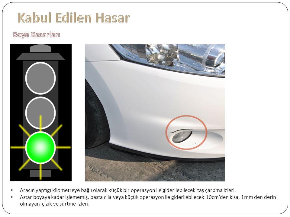 Aracın yaptığı kilometreye bağlı olarak küçük bir operasyon ile giderilebilecek taş çarpma izleri.
