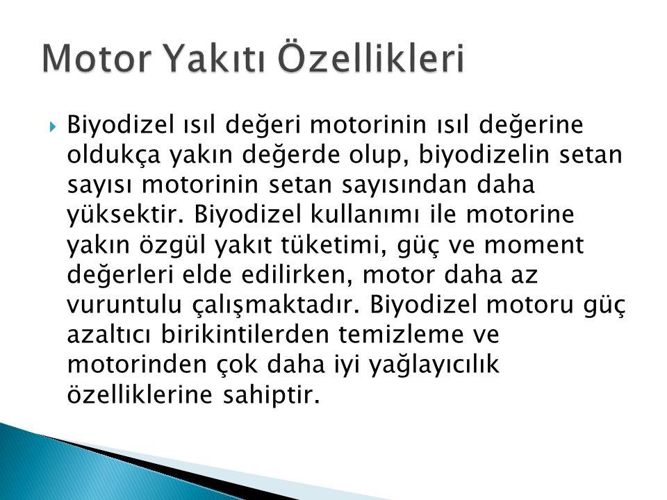  Biyodizel ısıl değeri motorinin ısıl değerine oldukça yakın değerde olup, biyodizelin setan sayısı motorinin setan sayısından daha yüksektir.