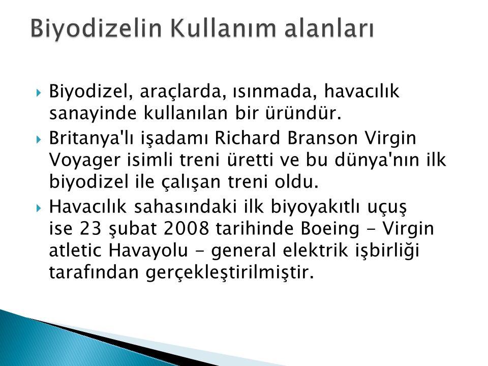  Biyodizel, araçlarda, ısınmada, havacılık sanayinde kullanılan bir üründür.