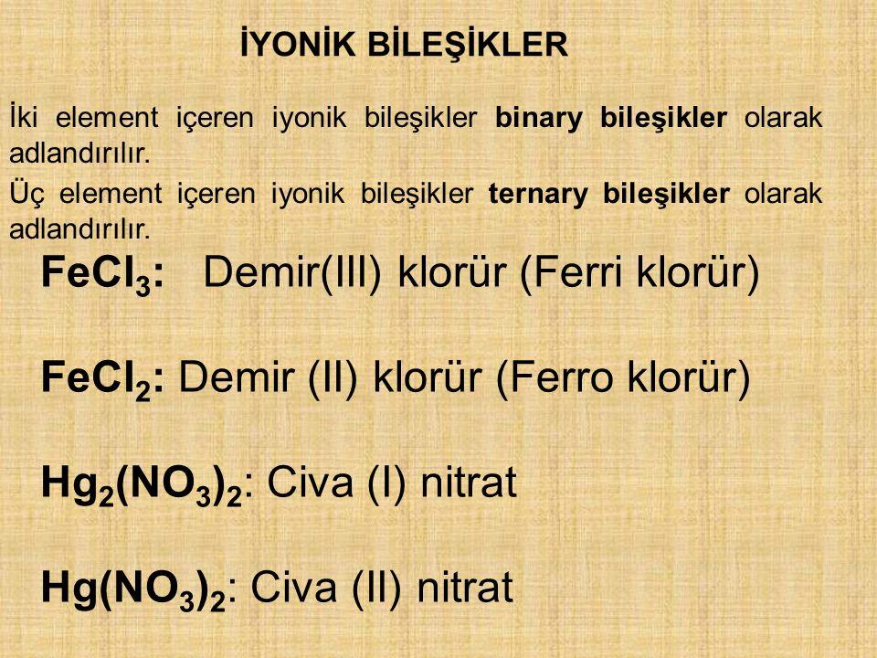 FeCl 3 : Demir(III) klorür (Ferri klorür) FeCl 2 : Demir (II) klorür (Ferro klorür) Hg 2 (NO 3 ) 2 : Civa (I) nitrat Hg(NO 3 ) 2 : Civa (II) nitrat İki element içeren iyonik bileşikler binary bileşikler olarak adlandırılır.