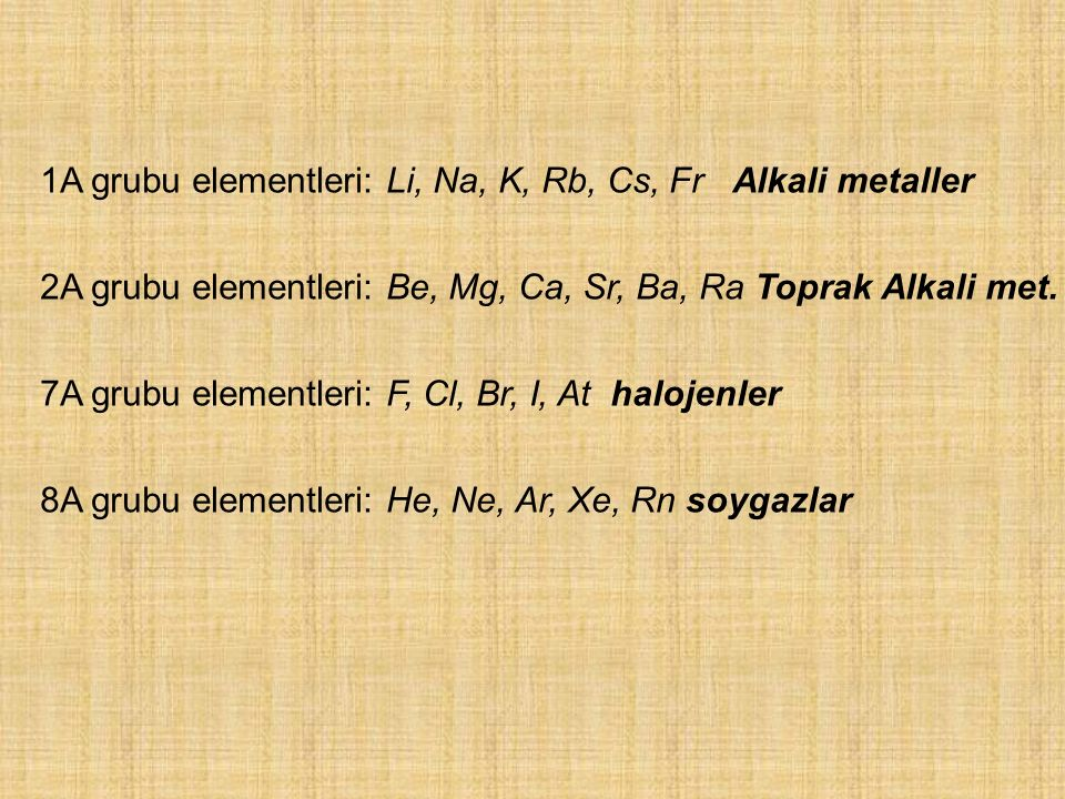 1A grubu elementleri: Li, Na, K, Rb, Cs, Fr Alkali metaller 2A grubu elementleri: Be, Mg, Ca, Sr, Ba, Ra Toprak Alkali met. 7A grubu elementleri: F, C